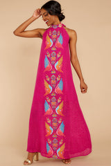 5 Flock To It Pink Embroidered Maxi Dress at reddressboutique.com
