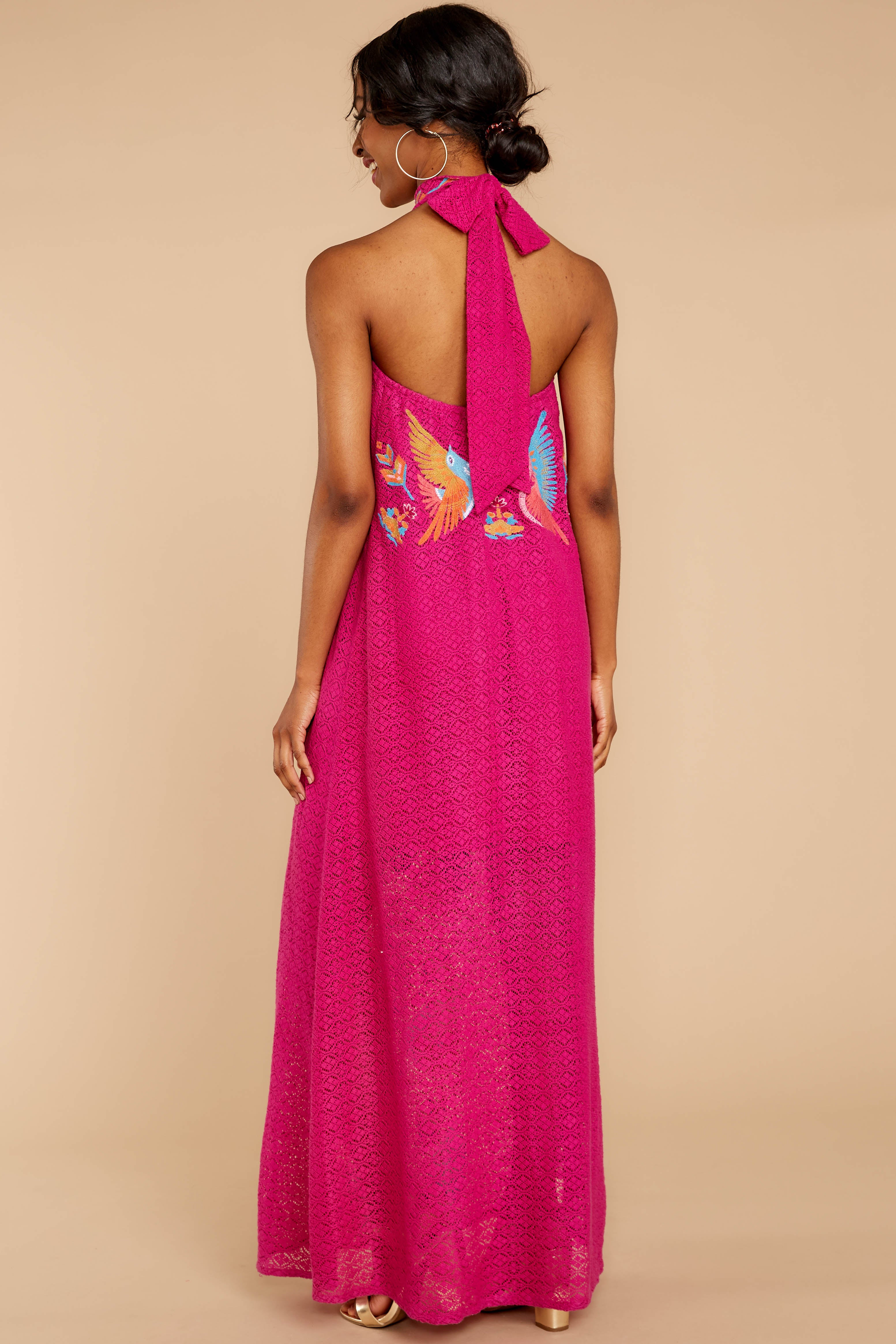 7 Flock To It Pink Embroidered Maxi Dress at reddressboutique.com
