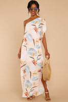 Tropical Print Polyester Slit One Shoulder Maxi Dress