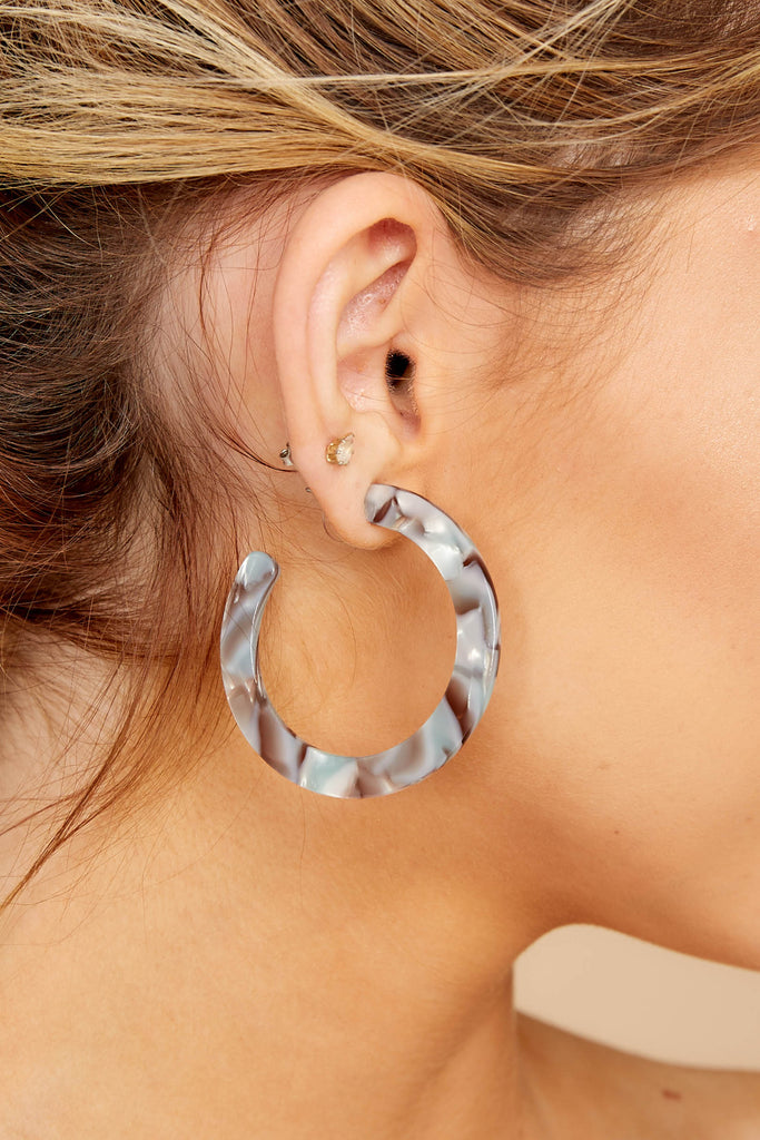 1 Simply Radiant Grey Tortoise Acrylic Earrings at reddressboutique.com