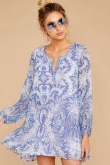 Go Out In Style Blue Multi Print Dress