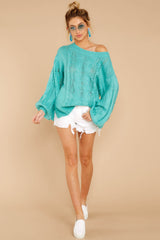 1 Crossroad Ahead Turquoise Sweater at reddressboutique.com