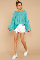 2 Crossroad Ahead Turquoise Sweater at reddressboutique.com