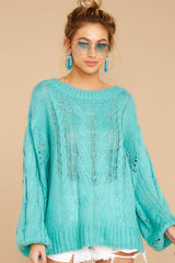 Crossroad Ahead Turquoise Sweater