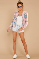 2 Vacationer Extraordinaire Pink Palm Print Jacket at reddressboutique.com