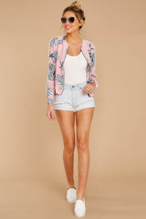 3 Vacationer Extraordinaire Pink Palm Print Jacket at reddressboutique.com