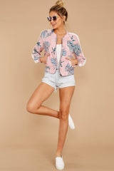 1 Vacationer Extraordinaire Pink Palm Print Jacket at reddressboutique.com