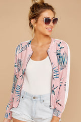 4 Vacationer Extraordinaire Pink Palm Print Jacket at reddressboutique.com
