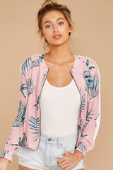 5 Vacationer Extraordinaire Pink Palm Print Jacket at reddressboutique.com