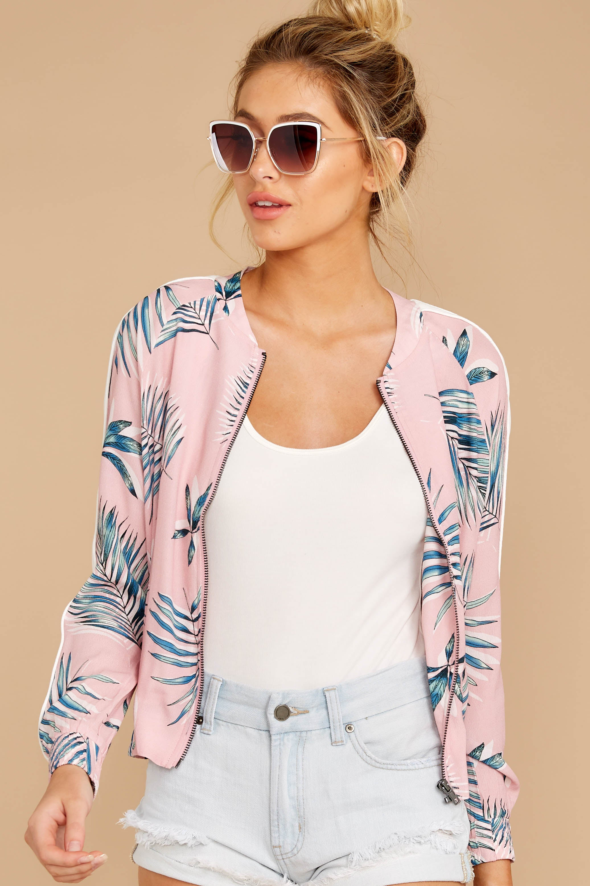 6 Vacationer Extraordinaire Pink Palm Print Jacket at reddressboutique.com