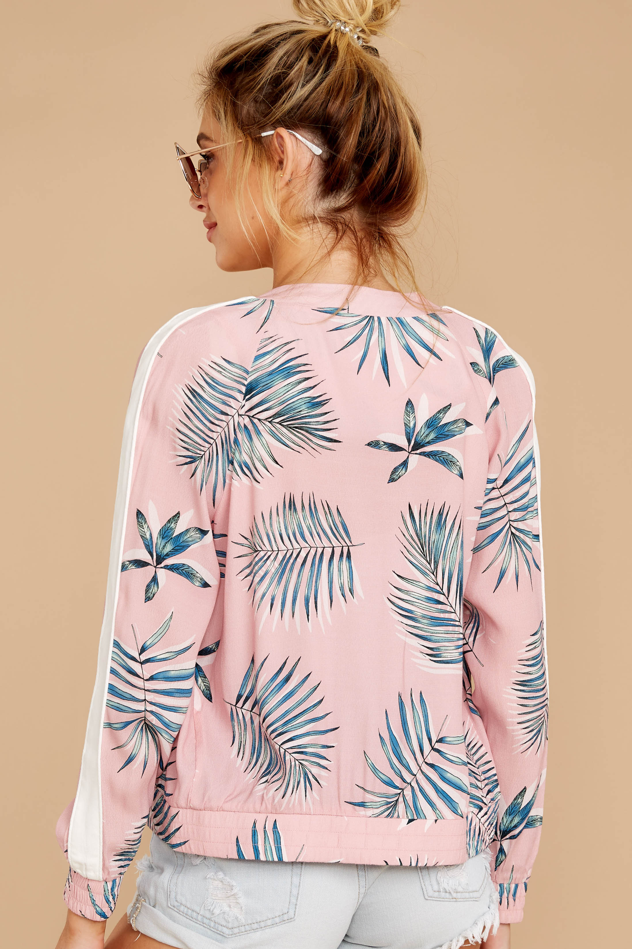 7 Vacationer Extraordinaire Pink Palm Print Jacket at reddressboutique.com