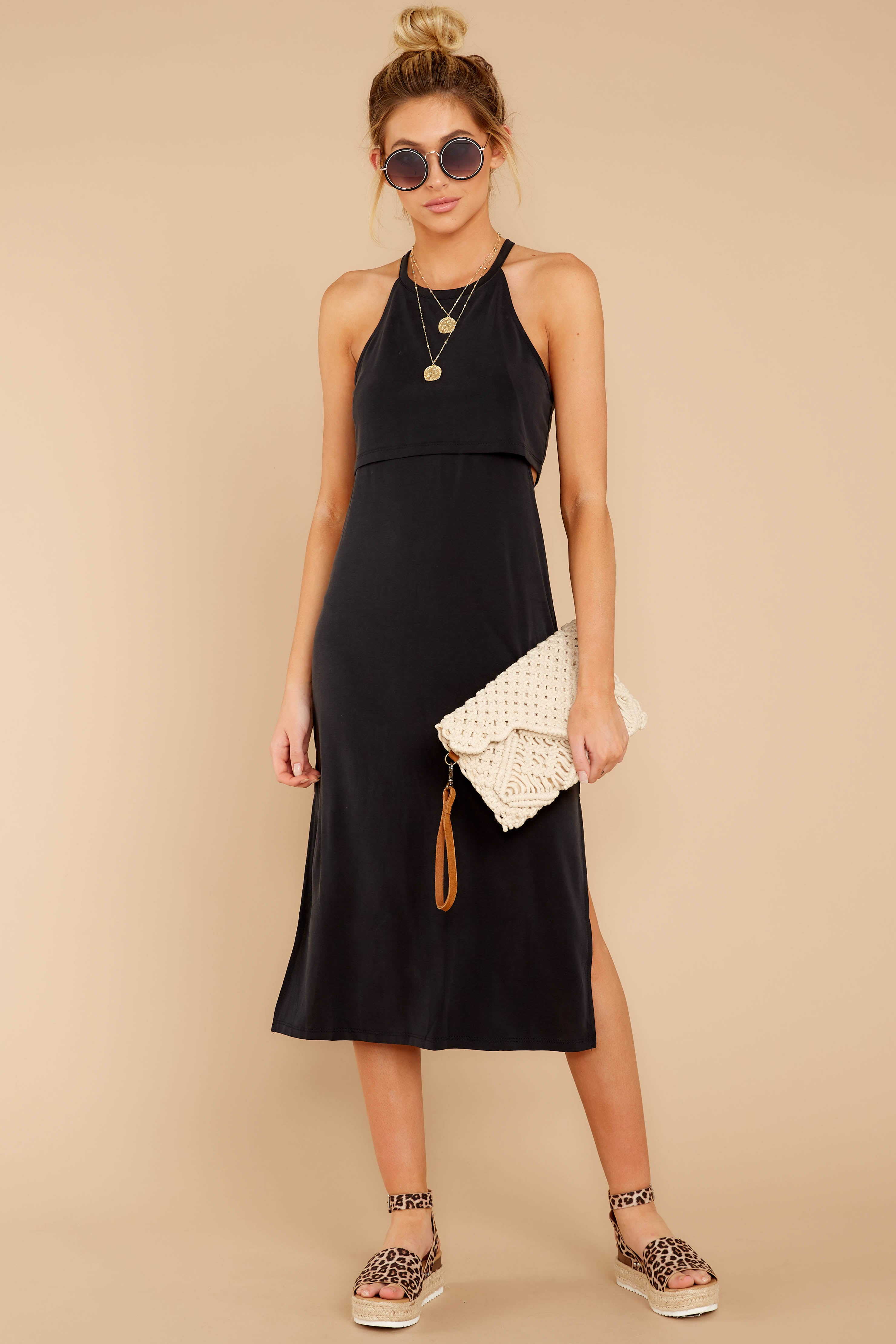 2 Casual Obsession Black Midi Dress at reddress.com