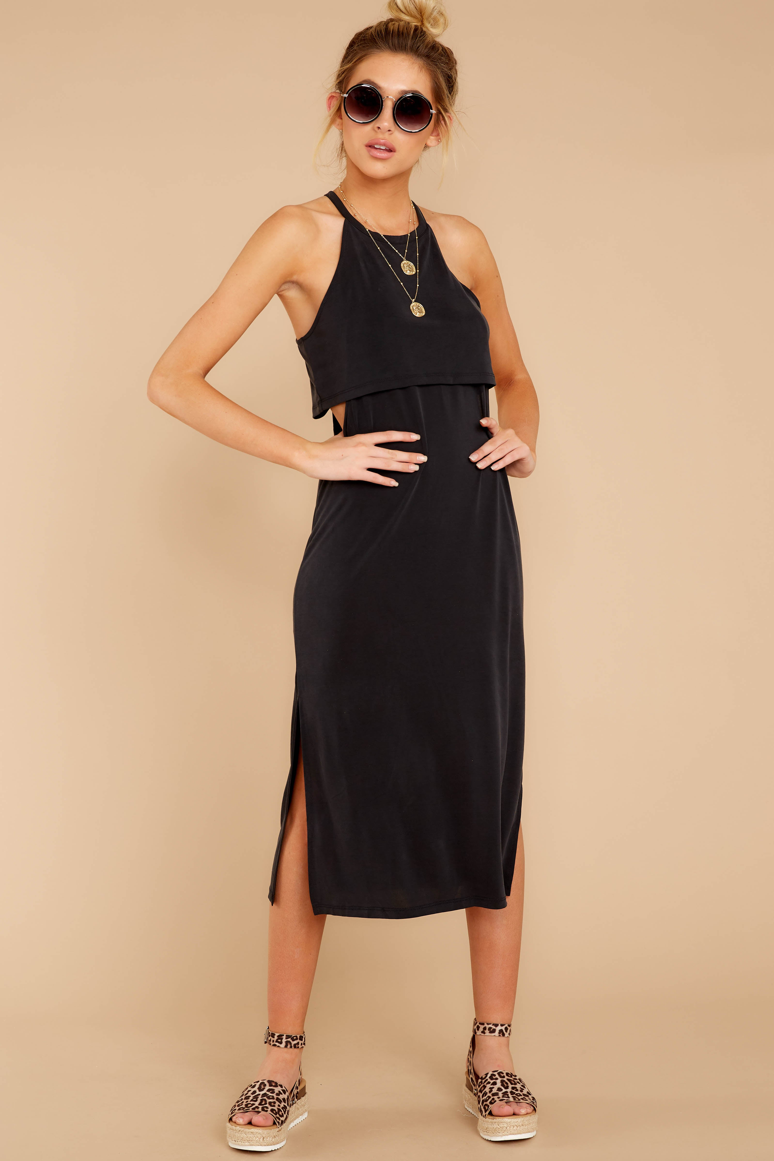 4 Casual Obsession Black Midi Dress at reddress.com