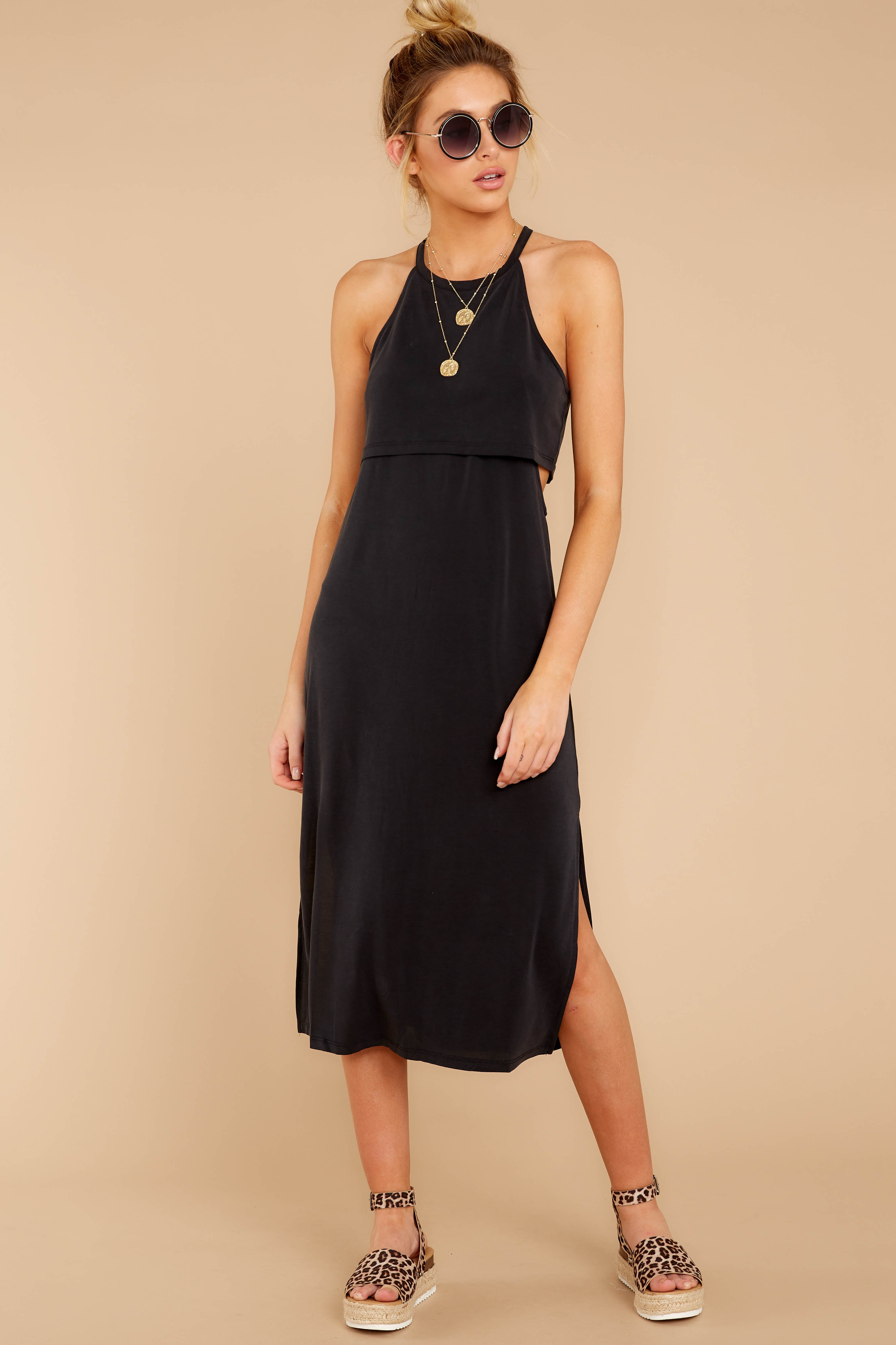 5 Casual Obsession Black Midi Dress at reddress.com