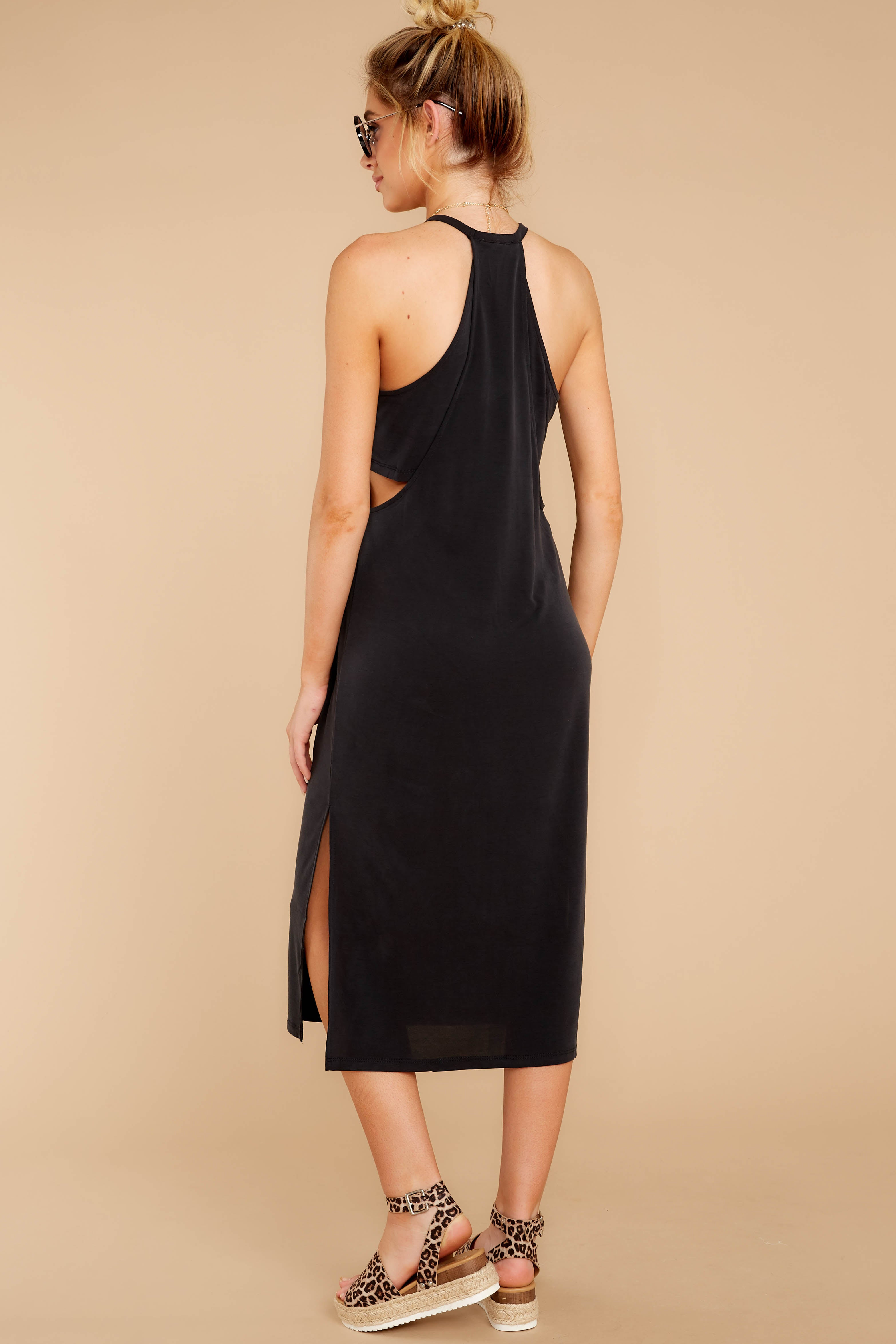 7 Casual Obsession Black Midi Dress at reddress.com