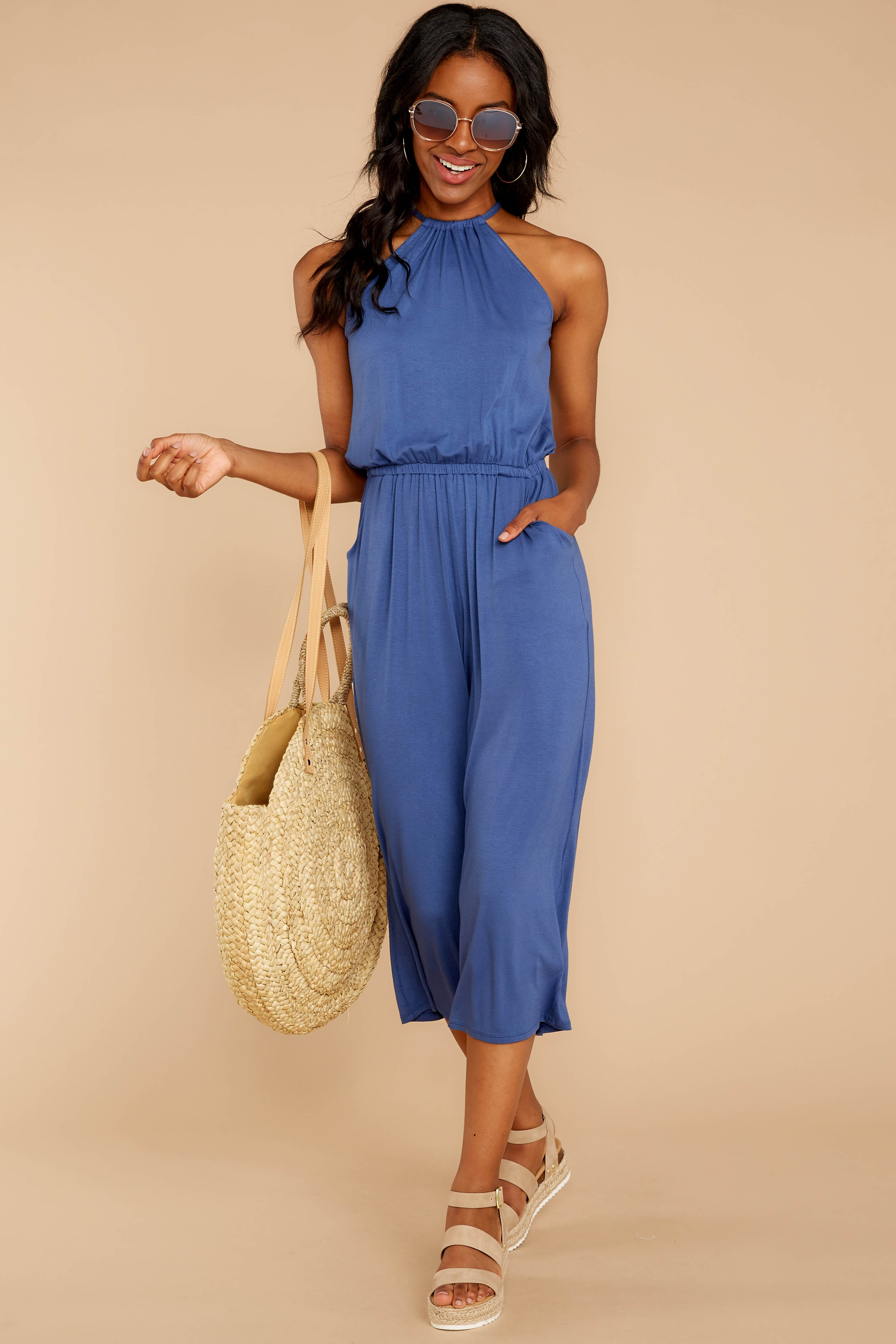 2 No Hesitations Parisian Blue Jumpsuit at reddressboutique.com