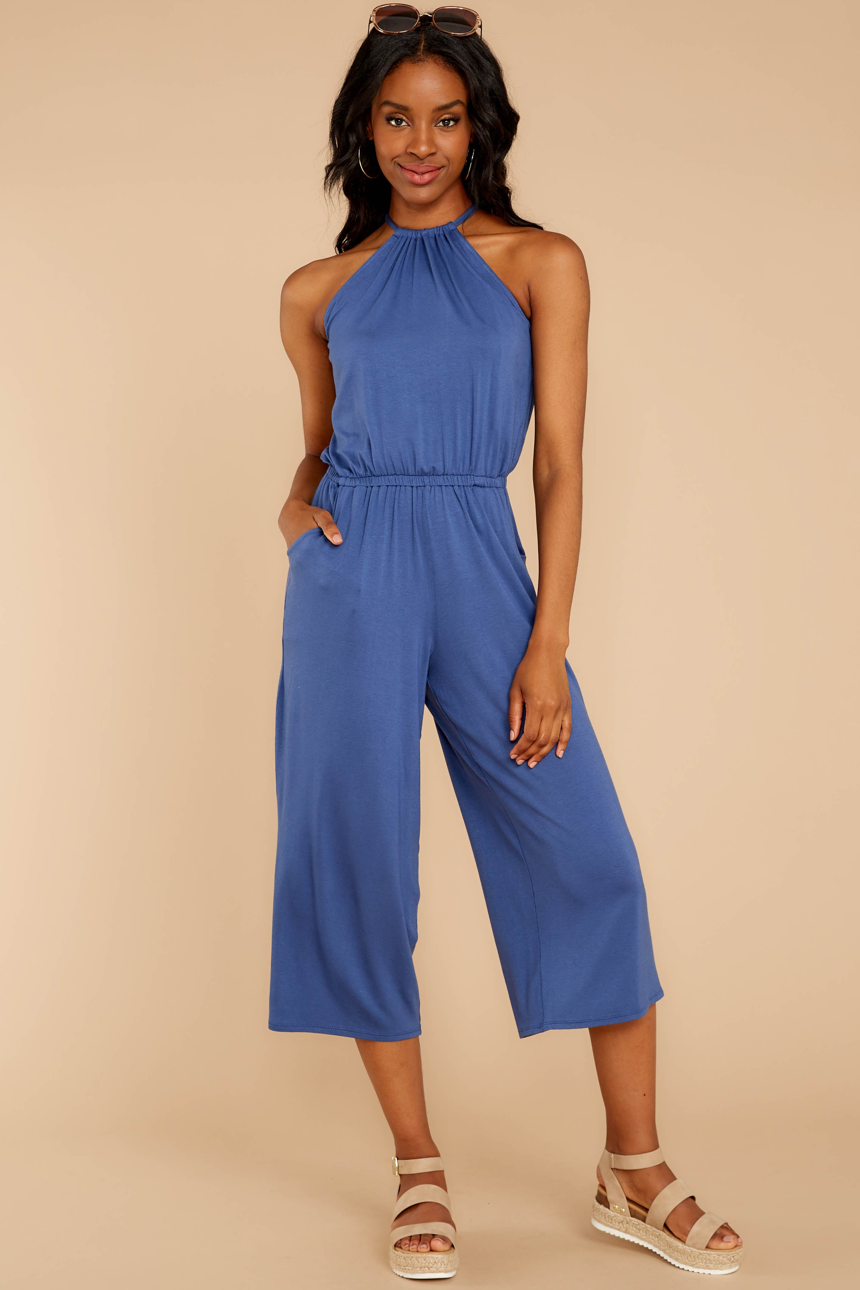 No Hesitations Parisian Blue Jumpsuit