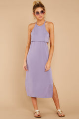 3 Casual Obsession Lilac Midi Dress at reddressboutique.com