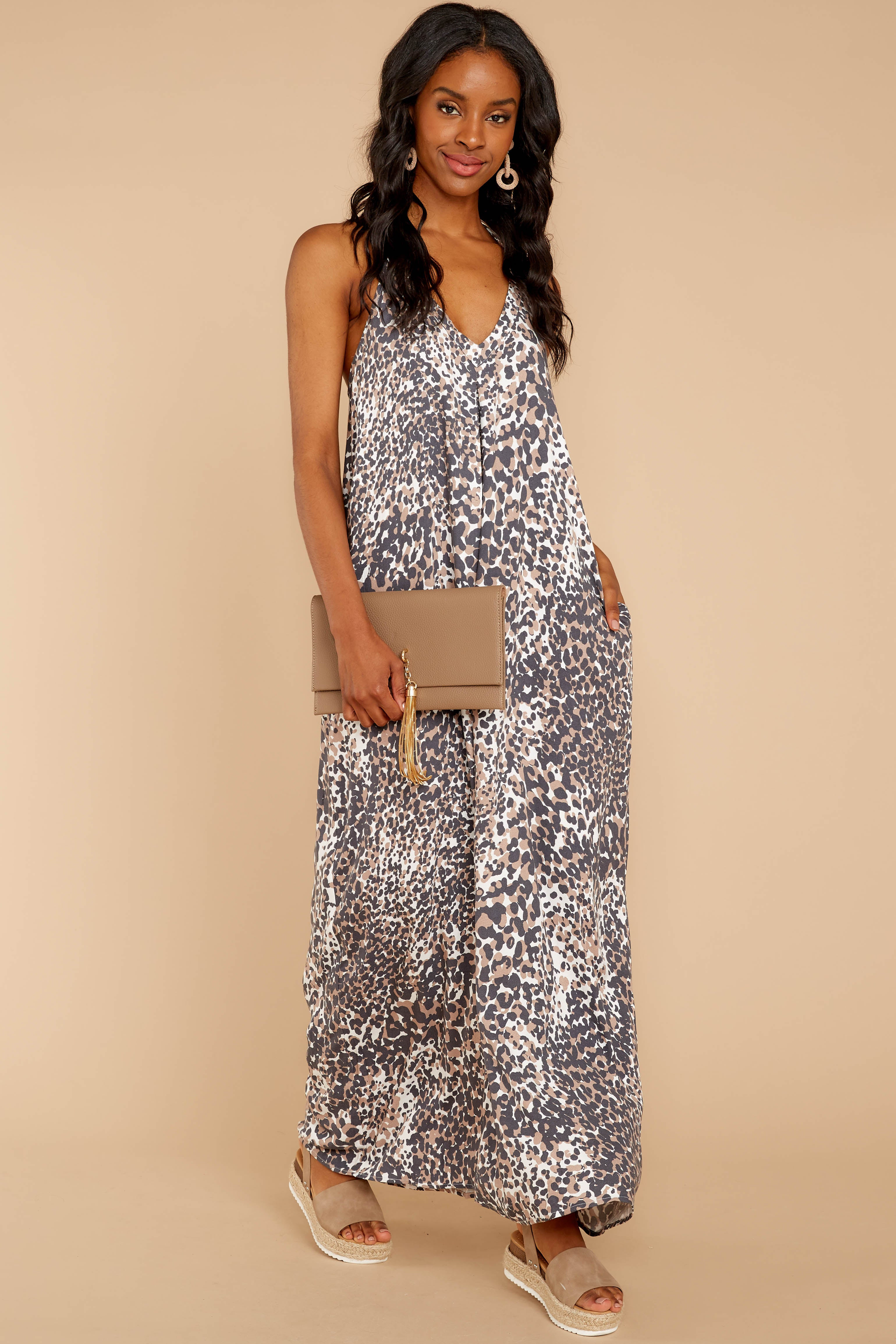 1 Got Away From You Brown Leopard Print Maxi Dress at reddressboutique.com