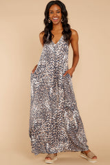 4 Got Away From You Brown Leopard Print Maxi Dress at reddressboutique.com