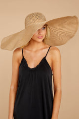 3 Hide And Seek Light Camel Wide Brimmed Hat at reddress.com