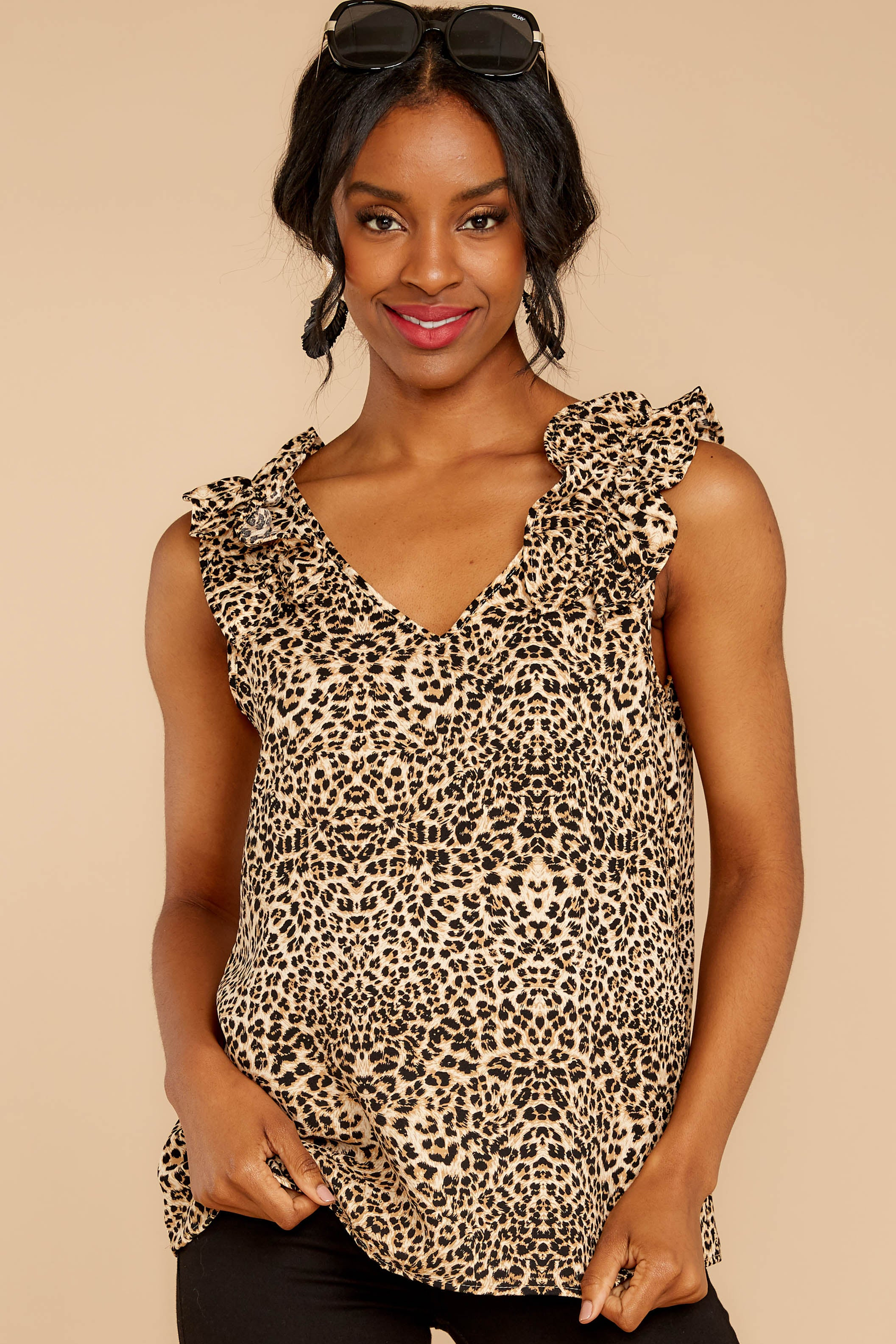 5 Ruffled Feathers Leopard Print Top at reddressboutique.com
