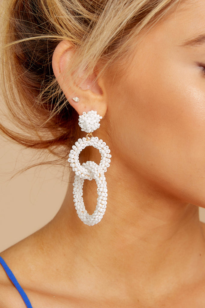 4 Never Enough Ivory Statement Earrings at reddressboutique.com