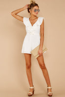 Sexy V-neck Polyester Faux Wrap Hidden Back Zipper Open-Back Princess Seams Waistline Romper With Ruffles