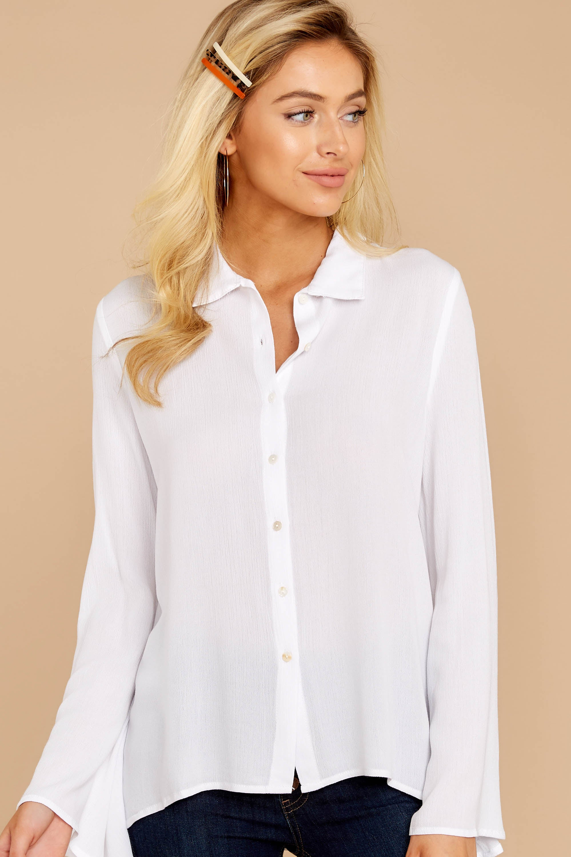 Ready For This White Button Up Top