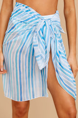 3 Tropic Trends Blue Multi Seaside Stripe Sarong at reddress.com