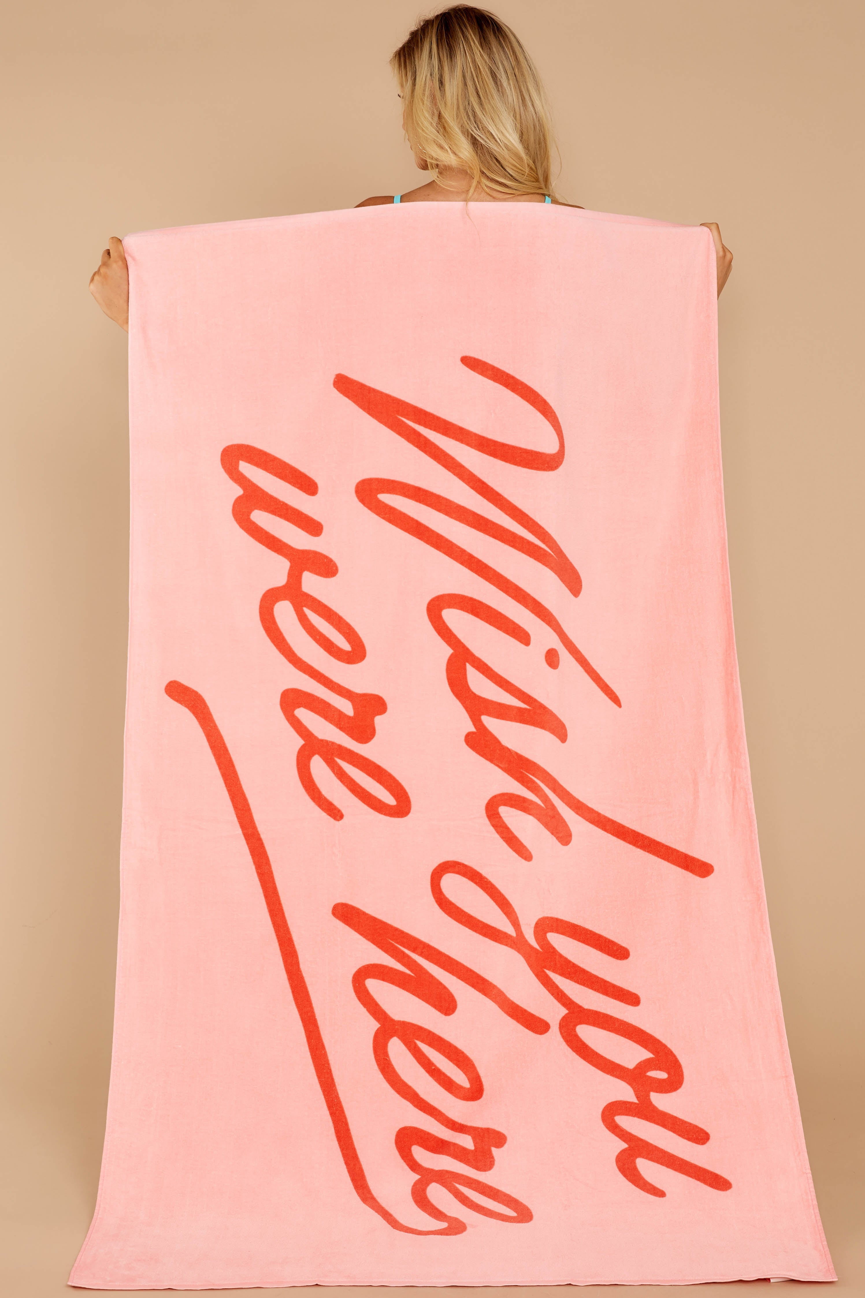 Wish You Were Here Pink Towel