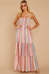 4 Only Yesterday Pink Rainbow Stripe Maxi Dress at reddressboutique.com