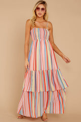 3 Only Yesterday Pink Rainbow Stripe Maxi Dress at reddressboutique.com