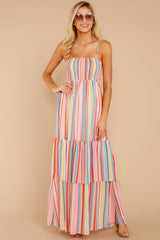 5 Only Yesterday Pink Rainbow Stripe Maxi Dress at reddressboutique.com