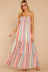 1 Only Yesterday Pink Rainbow Stripe Maxi Dress at reddressboutique.com