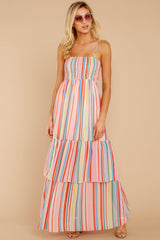 2 Only Yesterday Pink Rainbow Stripe Maxi Dress at reddressboutique.com