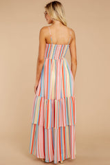 6 Only Yesterday Pink Rainbow Stripe Maxi Dress at reddressboutique.com