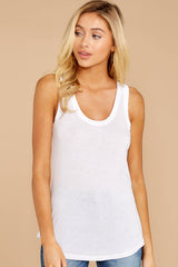 3 Sleek Jersey Tank In White at reddressboutique.com