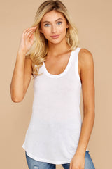 2 Sleek Jersey Tank In White at reddressboutique.com