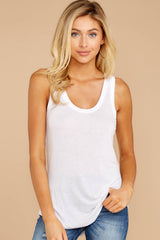 1 Sleek Jersey Tank In White at reddressboutique.com