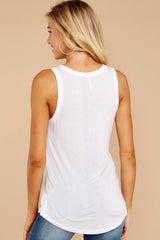 4 Sleek Jersey Tank In White at reddressboutique.com