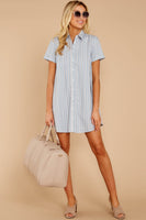 Collared Shift Short Cotton Striped Print Short Sleeves Sleeves Button Front Pleated Shirt Club Dress