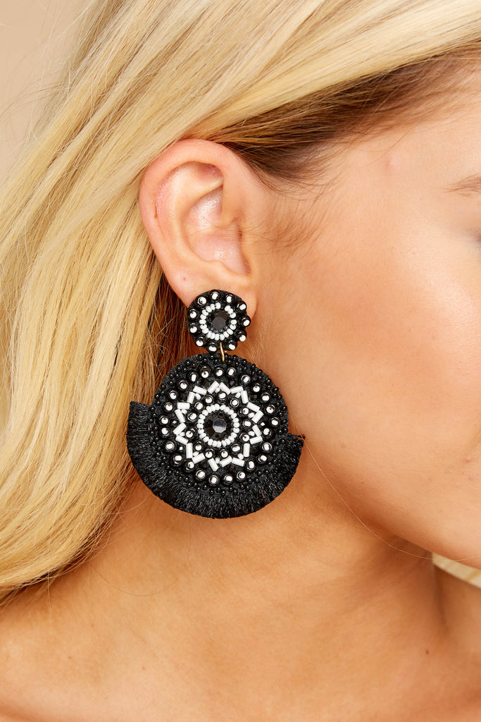 1 Drops Of Style Black Earrings at reddressboutique.com