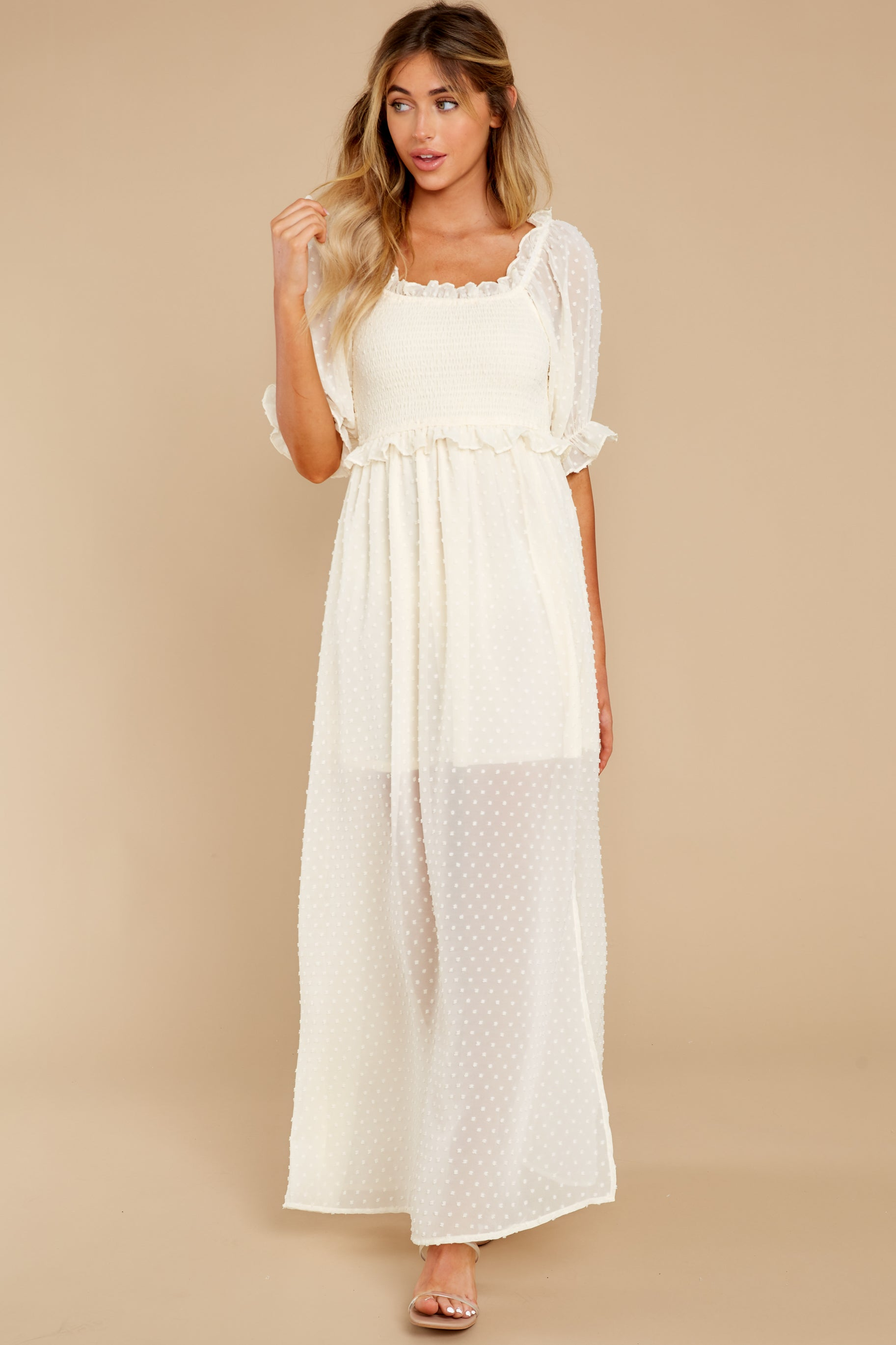 One More Kiss Cream Maxi Dress