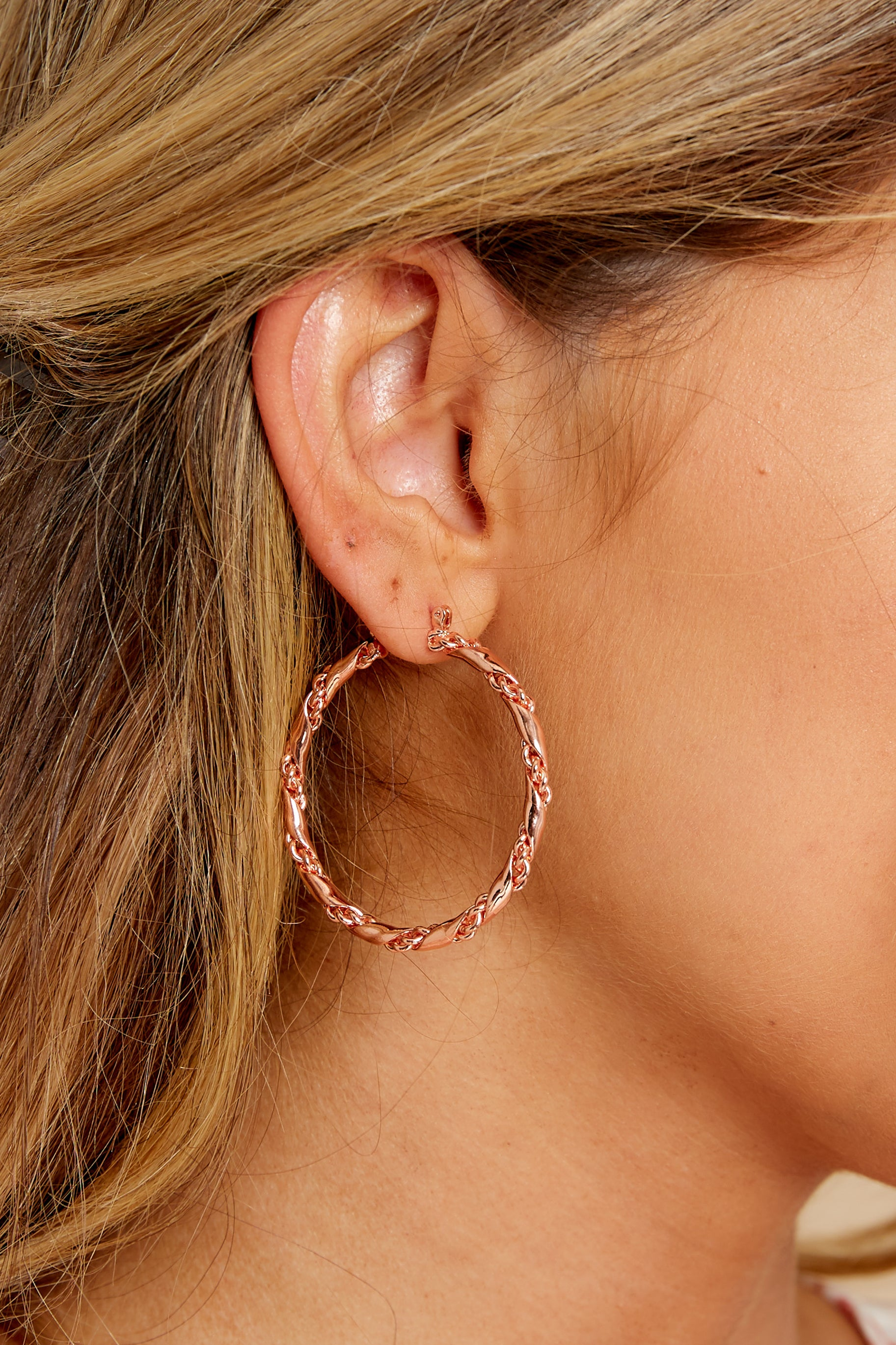 1 Walk The Line Rose Gold Hoop Earrings at reddress.com