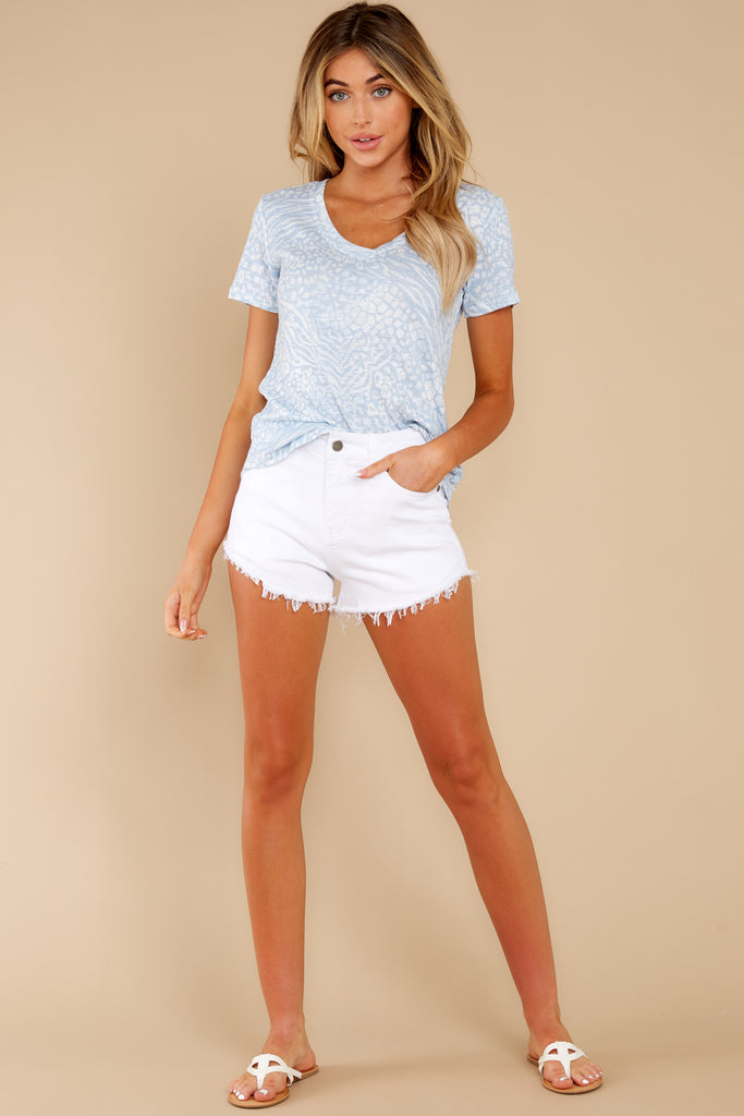 1 Under The Radar White Cut Off Denim Shorts at reddressboutique.com