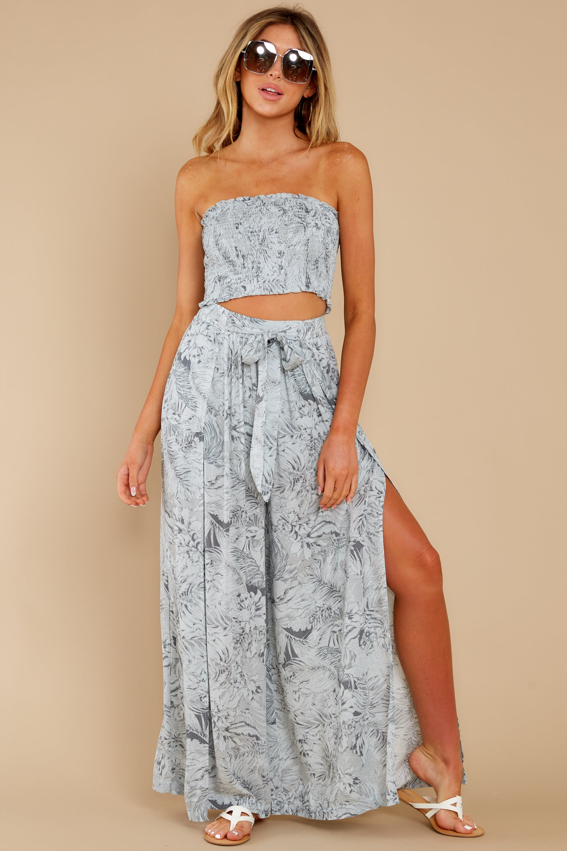 3 Under The Palms Dove Grey Tropical Print Two Piece Set at reddress.com