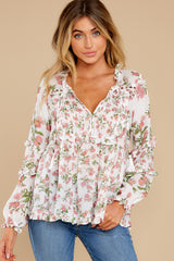 Heart's Embrace White Multi Floral Print Top