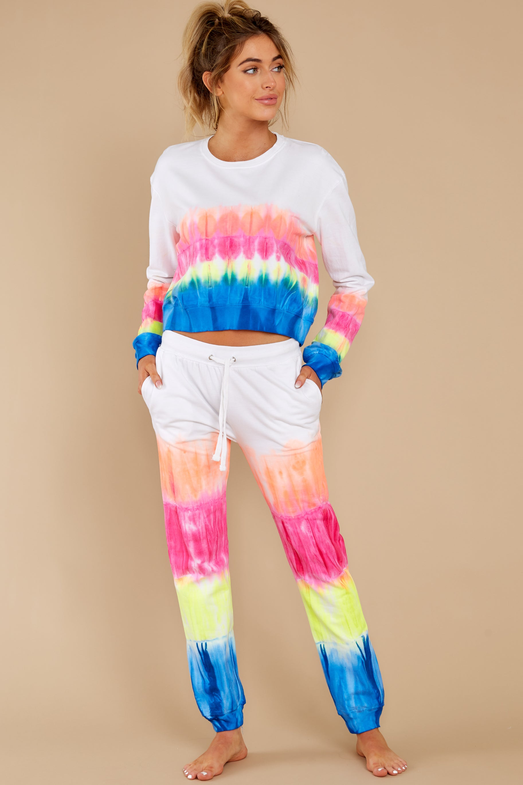 3 Relax Zone Neon Mirage Tie Dye Joggers at reddress.com