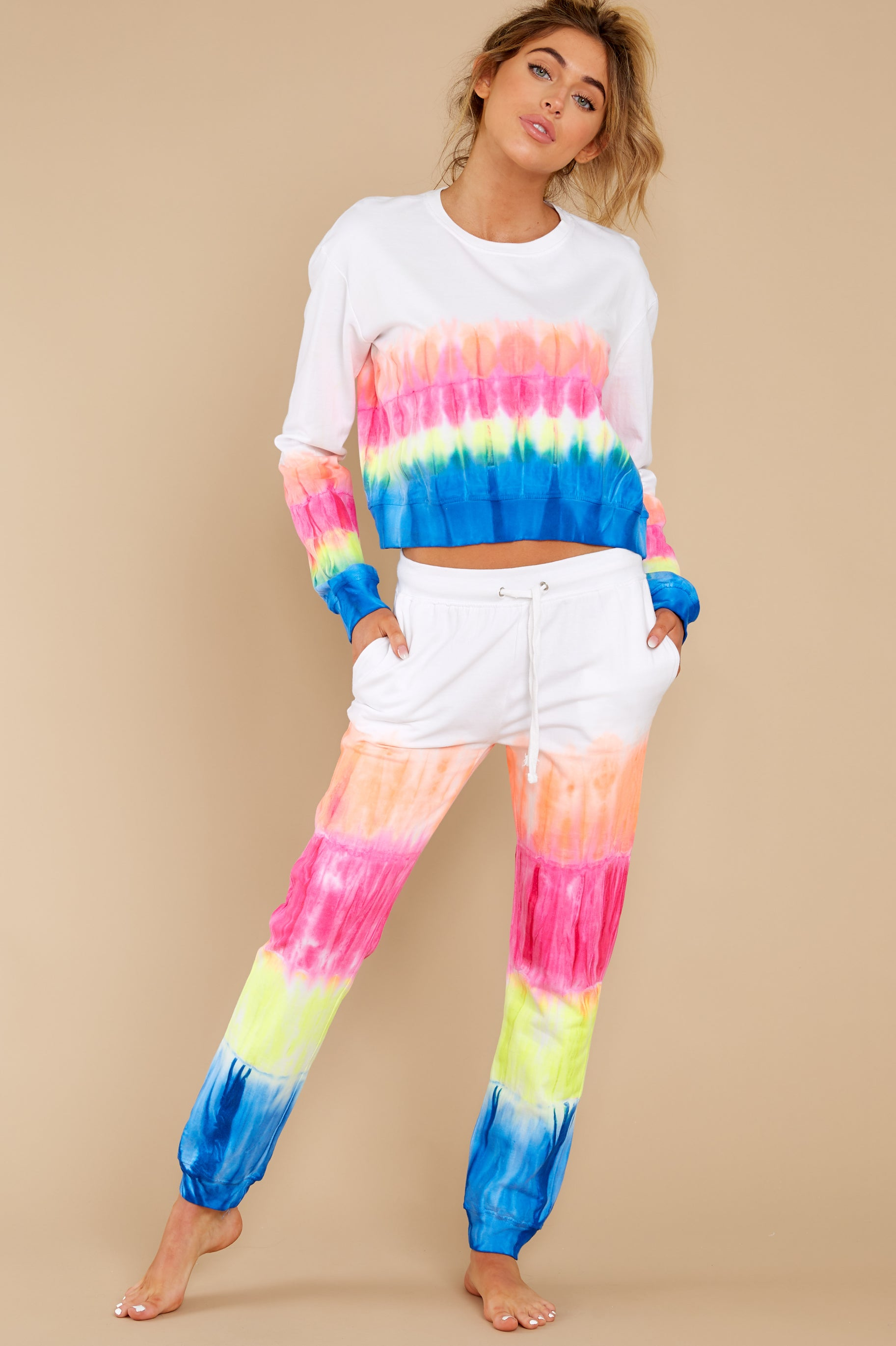 4 Relax Zone Neon Mirage Tie Dye Joggers at reddress.com